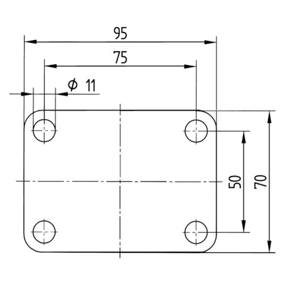 Roata pivotanta cu janta din polipropilena 125x32mm - Schita 3