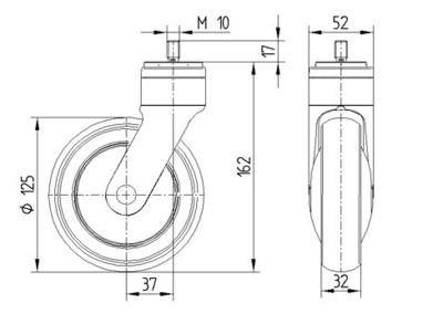 Roata pivotanta cu janta din poliamida 125x32mm - Schita 1