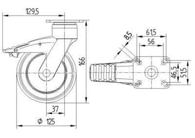 Rola pivotanta cu janta din polipropilena 125x32mm - Schita 1