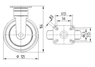 Roata fixa cu janta din polipropilena 125x32mm - Schita 1