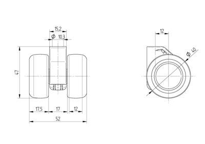 Roata pivotanta cu janta din polipropilena 40x12mm - Schita 1