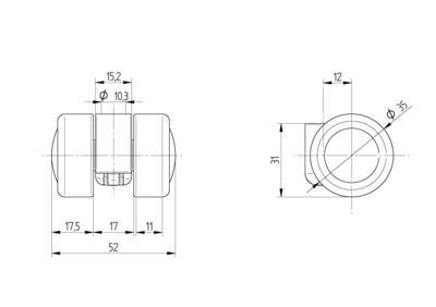 Roata pivotanta din poliamida 35x11mm - Schita 1