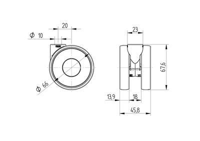 Roata pivotanta din poliamida 65×13.9mm - Schita 1