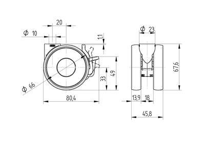 Roata pivotanta din polipropilena 65×13.9mm - Schita 1