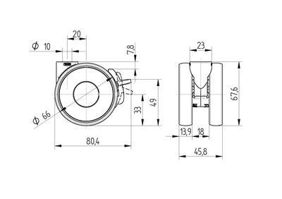 Roata pivotanta cu janta din poliamida 65×13.9mm - Schita 1