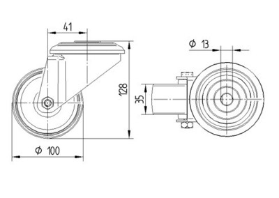 Rola pivotanta din poliamida 100x128mm - Schita 1