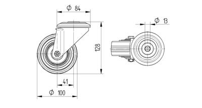 Roata pivotanta cu janta din poliamida 100x128mm - Schita 1