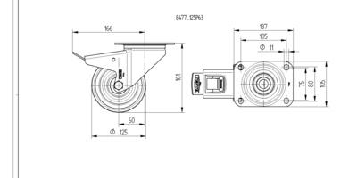Roata pivotanta cu janta din poliamida 125x161mm - Schita 1