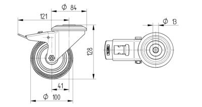 Roata pivotanta cu janta din poliamida 100x34mm - Schita 1