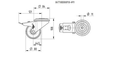 Roata pivotanta cu janta din poliamida 80x34mm - Schita 1