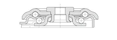 Roata pivotanta cu janta din poliamida 100x128mm - Schita 2