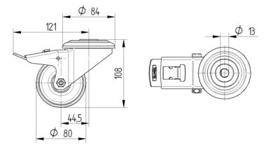 Roata pivotanta din poliamida 80x34mm - Schita 1