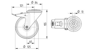 Roata pivotanta din poliamida 125x155mm - Schita 1