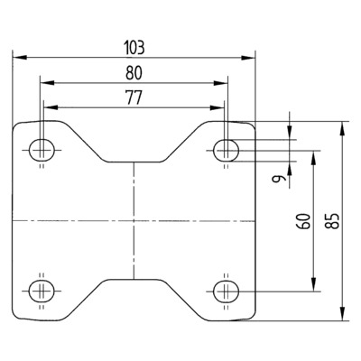 Roata fixa cu janta din poliamida 100x34mm - Schita 2