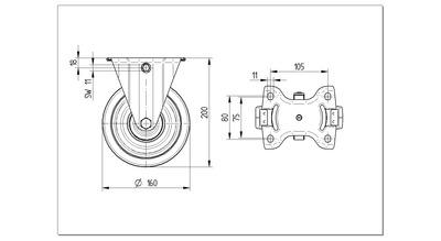 Roata pivotanta cu janta din poliamida 160x200mm - Schita 1