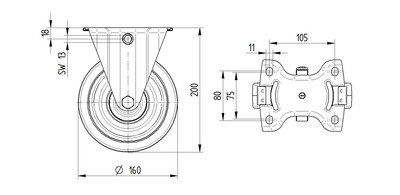 Roata fixa cu janta din poliamida 160x46mm - Schita 1