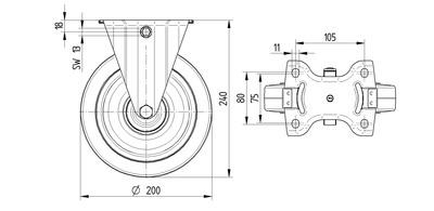 Roata fixa cu janta din poliamida 200x46mm - Schita 1