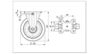 Roata fixa cu janta din poliamida 200x240mm - Schita 1
