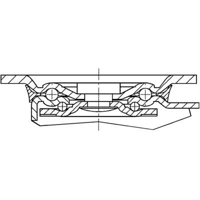 Roata pivotanta cu janta din poliamida 125x164mm - Schita 1