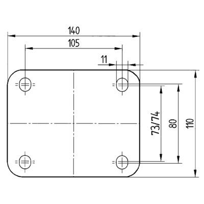 Roata pivotanta cu janta din poliamida 125x164mm - Schita 2