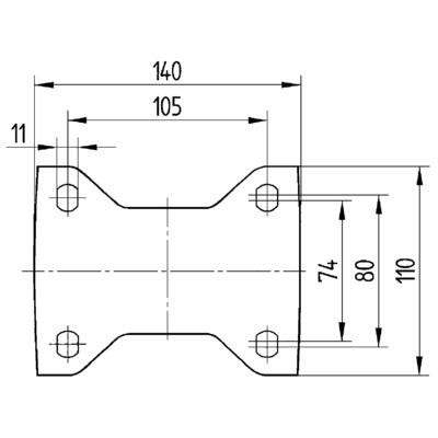 Roata fixa din poliamida 125x50mm - Schita 1