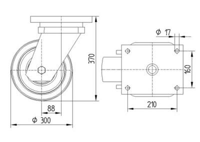 Roata pivotanta cu janta din fonta 300x100mm - Schita 1