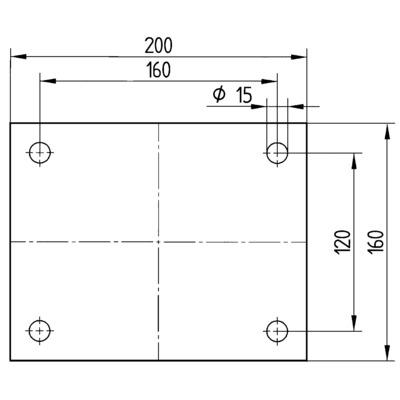 Roata pivotanta cu janta din tabla din otel 300x100mm - Schita 3