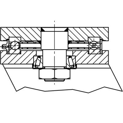 Roata pivotanta cu janta din tabla din otel 300x100mm - Schita 2
