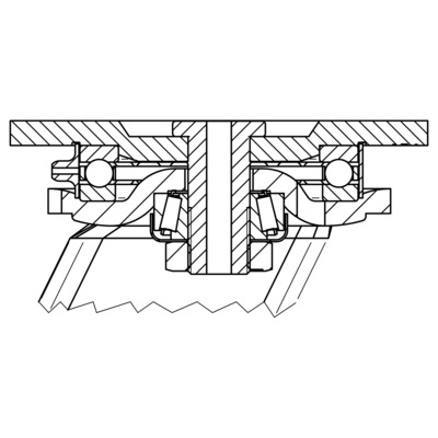 Roata pivotanta cu janta din fonta 250x80mm - Schita 2