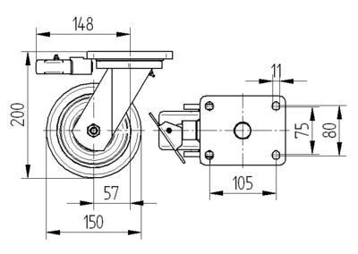 Roata pivotanta cu janta din aluminiu 150x50mm - Schita 1