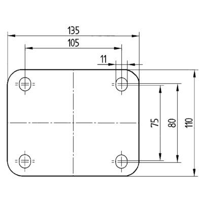 Roata pivotanta cu janta din fonta 300x50mm - Schita 2