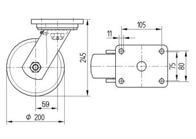 Roata pivotanta cu janta din fonta 200x245mm - Schita 1