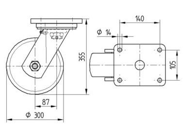 Roata pivotanta cu janta din fonta 300x80mm - Schita 1