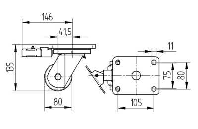 Roata pivotanta cu janta din otel 80x60mm - Schita 1