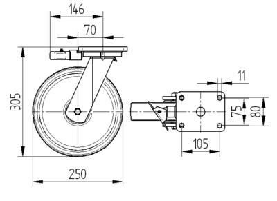 Roata pivotanta cu janta din fonta 250x50mm - Schita 1