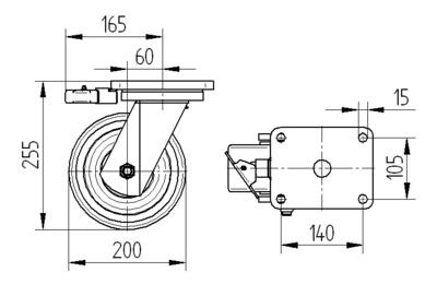 Roata pivotanta cu janta din fonta 200x75mm - Schita 1
