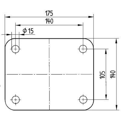 Roata pivotanta cu janta din fonta 200x75mm - Schita 3