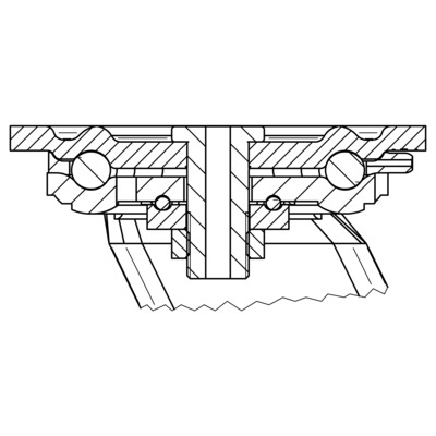 Roata pivotanta cu janta din fonta 300x50mm - Schita 1