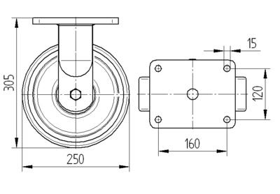 Roata fixa cu janta din fonta 250x80mm - Schita 1