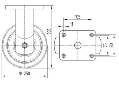 Roata fixa cu janta din aluminiu 250x50mm - Schita 1