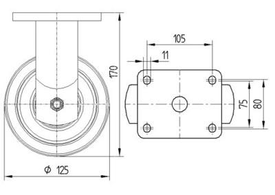 Roata fixa cu janta din aluminiu 125x50mm - Schita 1