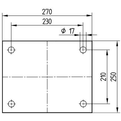 Roata pivotanta cu janta din fonta 250x80mm - Schita 3