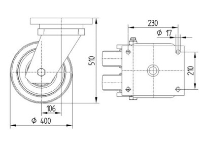 Roata pivotanta cu janta din fonta 400x80mm - Schita 3