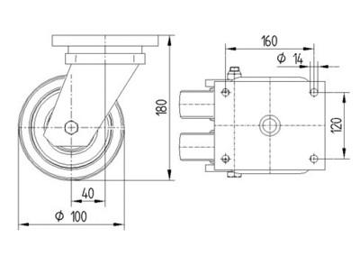 Roata pivotanta cu janta din poliamida 100x50mm - Schita 1
