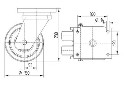 Roata pivotanta cu janta din poliamida 150x50mm - Schita 1