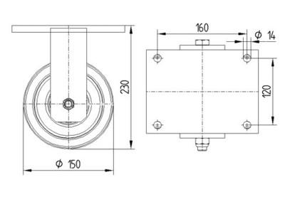 Roata fixa cu janta din fonta 150x50mm - Schita 1