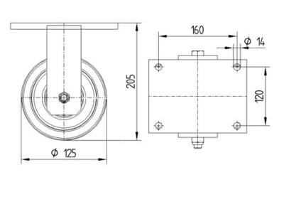 Roata fixa cu janta din poliamida 125x50mm - Schita 1