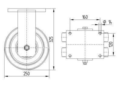 Roata fixa cu janta din poliamida 250x50mm - Schita 1