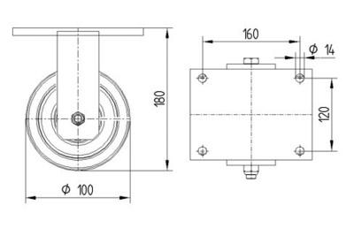 Roata fixa din poliamida 100x50mm - Schita 1