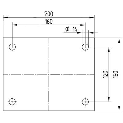 Roata fixa din poliamida 250x50mm - Schita 2